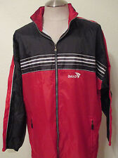 Jako Windbreaker Jacket Size XXL Black/Red 100% Nylon Hidden Hood Zip Front EUC