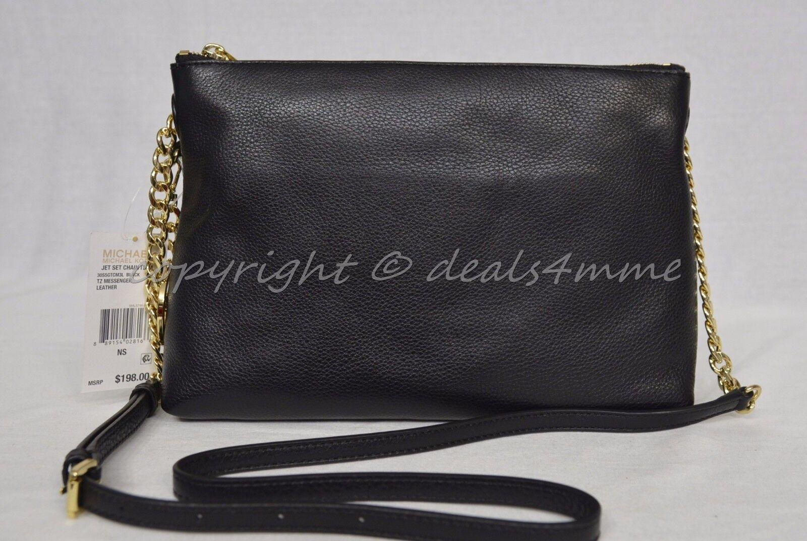Michael Kors Jet Set Chain Item Black TZ Messenger Leather 30s5gtcm3l