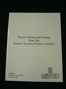 CHRISTIES ROBSON LOWE AUCTION CATALOGUE 1995 ESSAYS PROOFS & STAMPS FORMAT PRINT