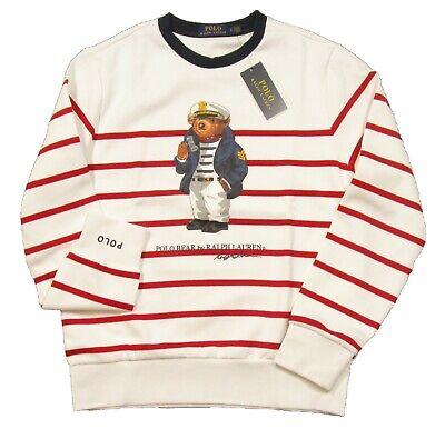 Polo Ralph Lauren Men/'s Cruise Navy Stripe Sailor Bear Graphic Pullover Hoodie