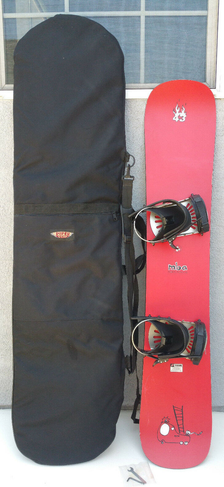 Avalanche MBA cm Red Snowboard Bindings + Soft Padded Case Made Austria