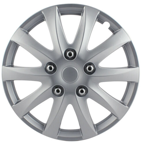 """Pilot Automotive 5 Lug Silver Wheel Cover Hub Cap Snap On 15/"""" Inches Set of 4"""