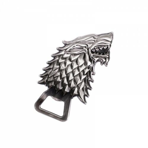 OFFICIAL GAME OF THRONES HOUSE STARK WOLF SCULPTED METAL BOTTLE OPENER