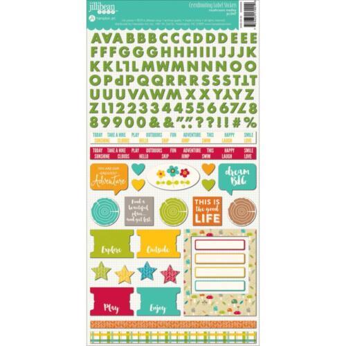Jillibean Soup Mushroom Medley Stickers Alpha /& Label Cardstock Outdoor 6x12