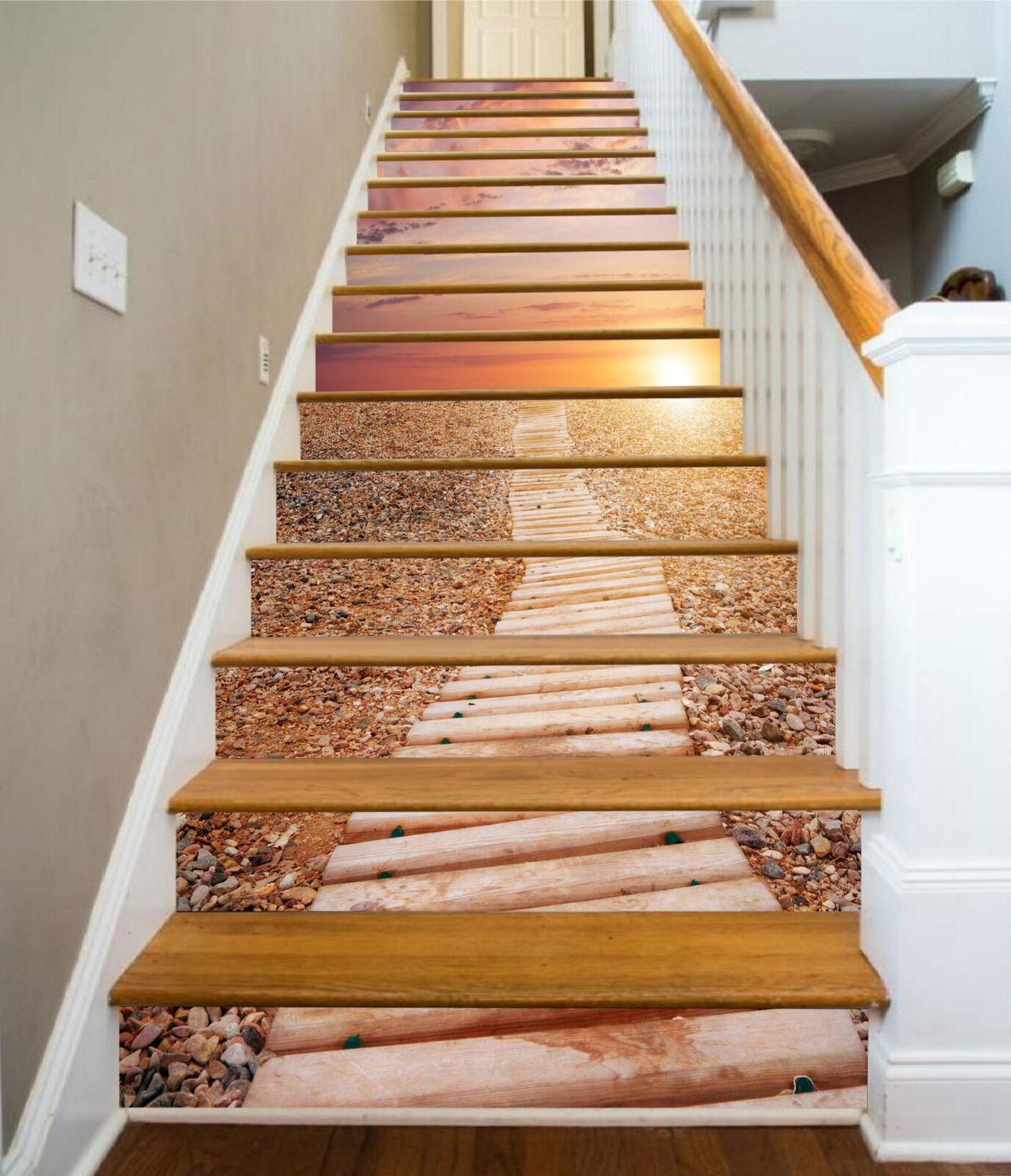 3D Holzsteg Sonne 1 Stair Risers Dekoration Fototapete Vinyl Aufkleber Tapete DE