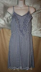 Womans-Size-L-Large-White-Navy-Blue-Spaghetti-Stripped-Mini-Dress-by-She-NEW