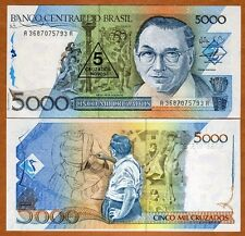 Brazil, 5 Cruzados Novo on 5000 Cruzados (1989) P-217, UNC