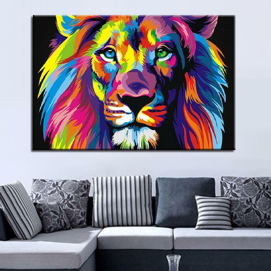 Psychedelic Lion Head Animal 1 Piece Canvas Print Wall Art