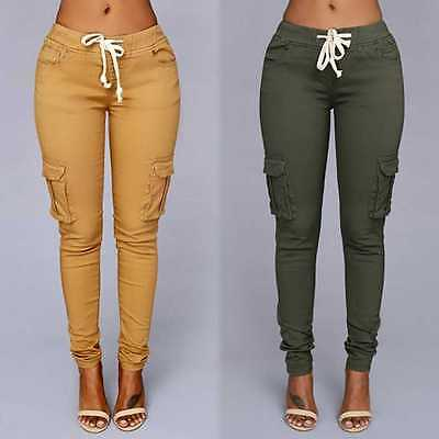 Womens Sport Trousers Casual Gym Jogging Skinny Stretch Drawstring Pencil Pants