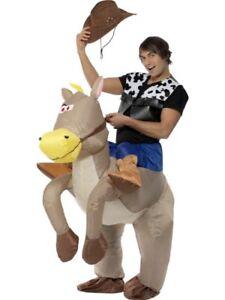 1299c7e5cf95c Inflatable Cowboy Costume Horse Riding + Hat Fancy Dress Outfit Suit ...