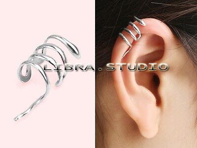 Fashion Punk Rock Temptation Silver Snake Left Ear Stud Cuff Wrap Clip Earring