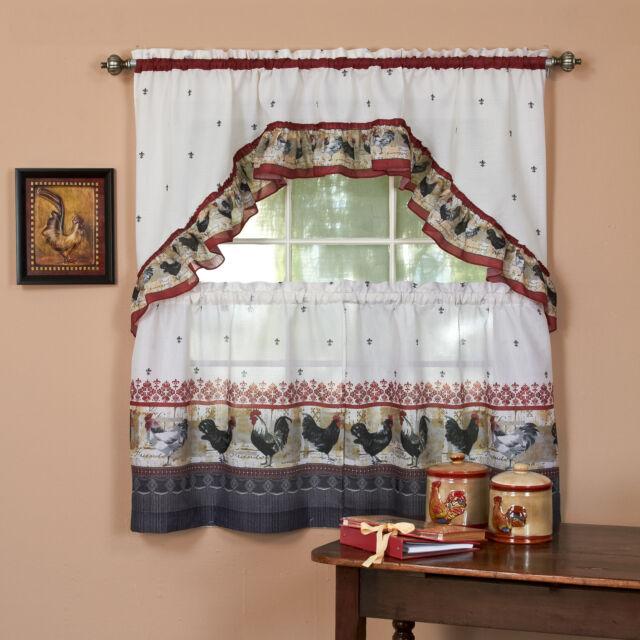 Roosters Fleur De Lis Kitchen Curtain 36 Tier Pair 30 Swag Set For Sale Online