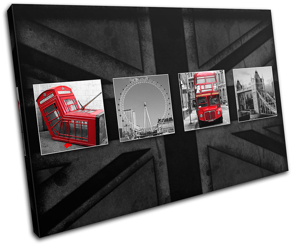 London Red Bus Phonebox LONA Flag  City SINGLE LONA Phonebox pared arte Foto impresion ea3026