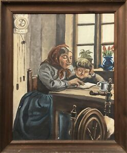 Interior-Kitchen-Mother-With-Child-at-The-Read-Grandfather-Antique-Oil-Painting