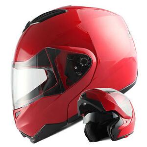 NEW-1Storm-DOT-Motorcycle-Bike-Modular-Flip-up-Full-Face-Helmet-Sun-Visor-Red