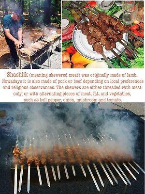 """10 BBQ SKEWERS FLAT 9//16/"""" WIDE STAINLESS STELL SHISH KEBOB KEBAB KABOB SHASHLIK"""