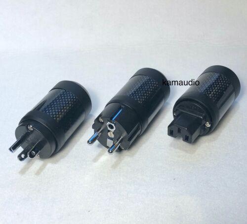 FI-60 Copper Rhodium Plated IEC US Schuko AC Power Plug Carbon Fiber Connector