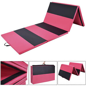 "4'x10'x2"" Gymnastics Mat Folding Panel Thick Gym Fitness Exercise Pink/Blk 2016"