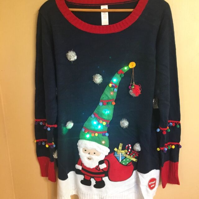 b72c07f6f96 UGLY CHRISTMAS SWEATER TUNIC 2X LADIES SANTA CLAUS DELUXE TACKY LIGHTS UP  NEW!
