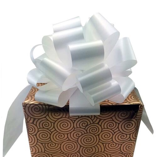 """Wedding Decor Set of 6 Bows for Gifts Large White Ribbon Pull Bows 9/"""" Wide"""