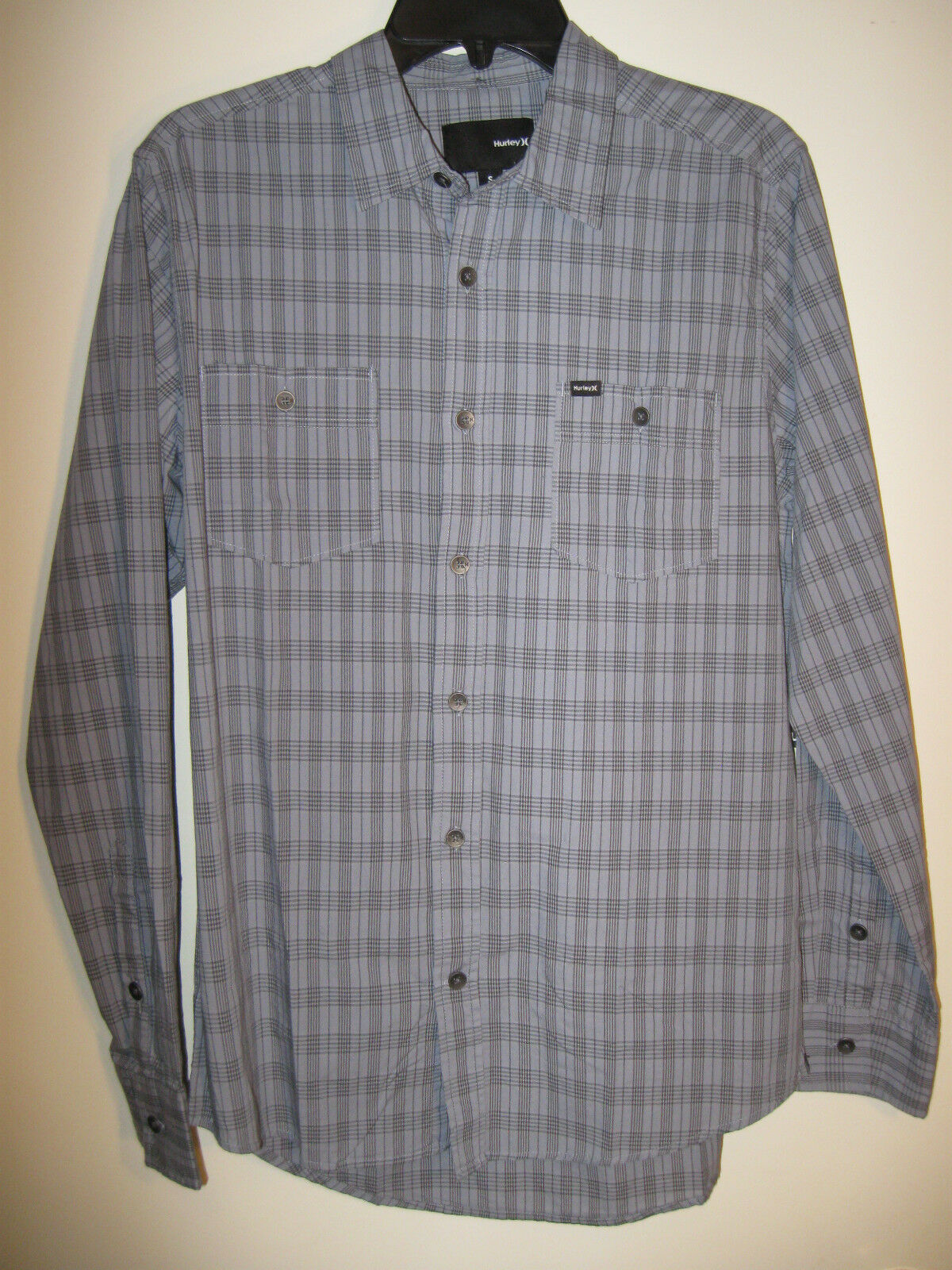 Hurley Button Shirt Dapper Grey Plaid Mens Size Small 100 Cotton