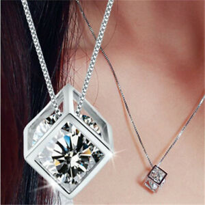 Fashion-Women-Jewelry-Magic-Cube-Crystal-Silver-Chain-Necklace-Pendant-Wedding