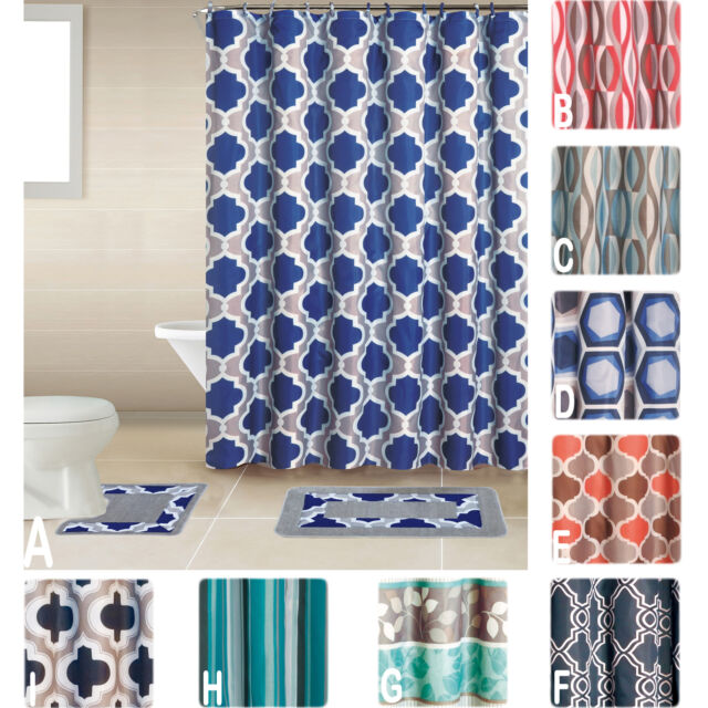 Mul Penny 15-Piece Floral Damask Bathroom Shower Curtain Set with Hooks and Rug