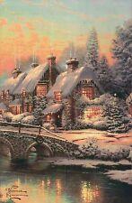 Cobblestone Christmas --- Thomas Kinkade X-mas Card with Message -- NOT Postcard