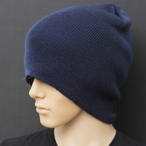 Image is loading C001-LONG-WINTER-Thick-Beanie-Hat-Cap-Navy- 2ae1a4f52a6b