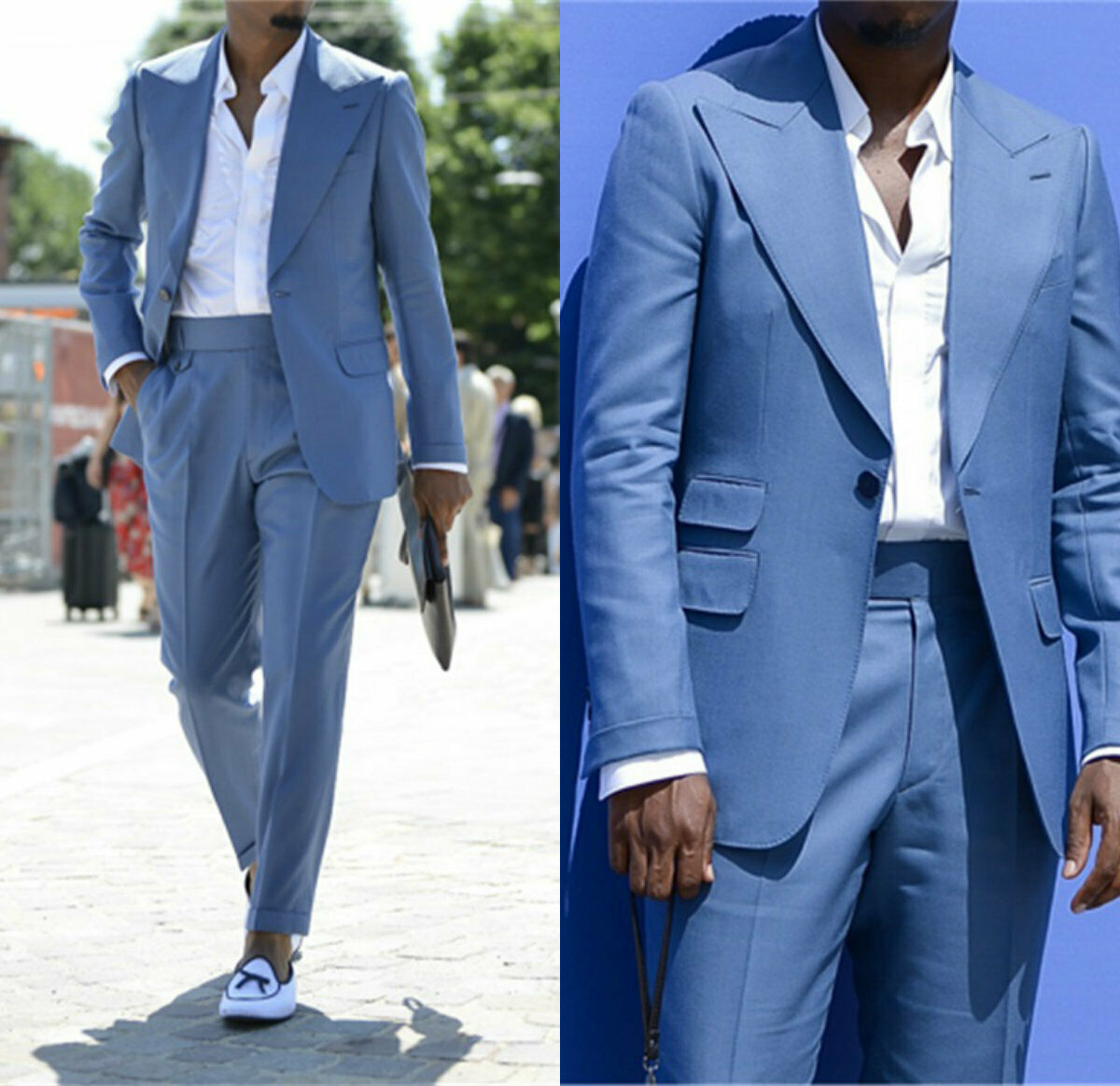 Blue Men Suits Peak Wide Lapel Wedding Groom Business Blazer Tuxedos Tailored