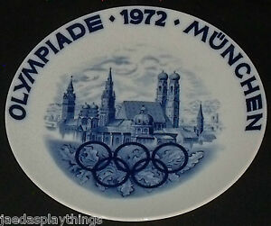 Olympics-Collector-Plate-1972-Olympiad-Munchen-Large-12-034-Germany-Blue