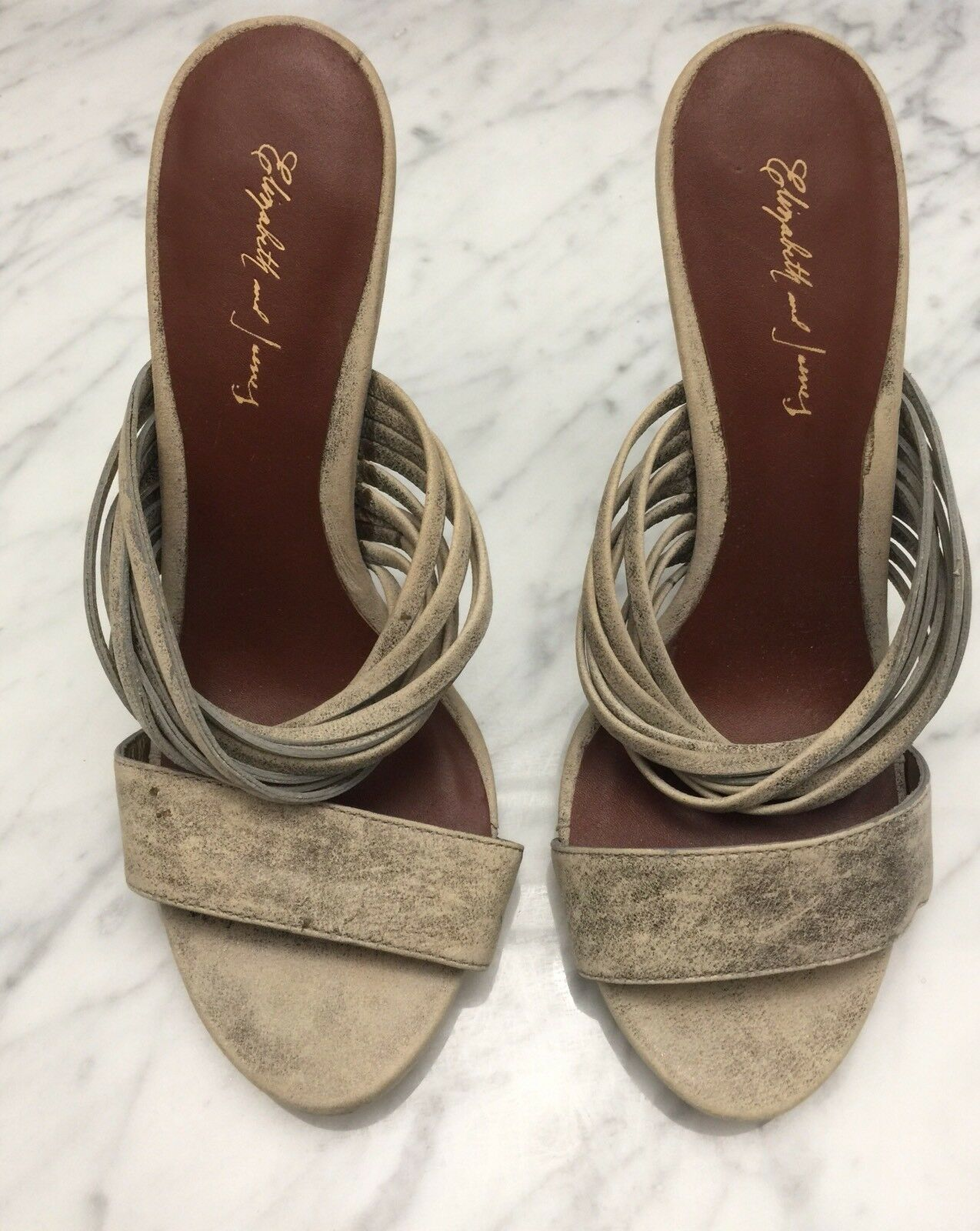 NEW ELIZABETH & JAMES Distressed Grey Tan Leather Leather Leather Strappy Stilettos Heels Sz 6M 9b824f