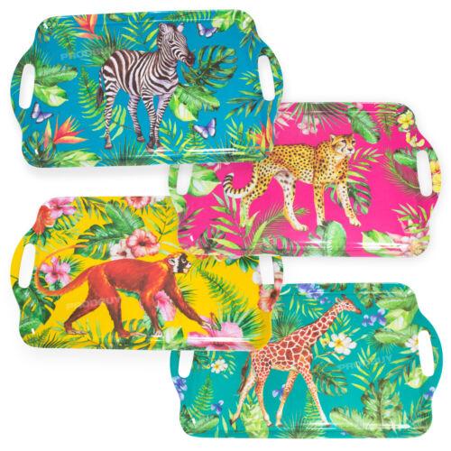 Zoo Animal Melamine Plastic Serving Tray with Handles TV Dinner Drinks Sandwich