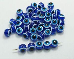 100/1000Pcs Hamsa Hand EVIL EYE Kabbalah Luck Spacer Beads Fit Bracelet 4 5 6mm