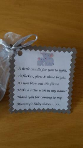 Baby shower tealight favours