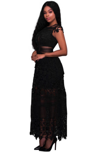 New Style Women s Black Maxi Lace Hollow Out Long Party Dress Size 4-14