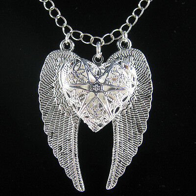 Silver Angel Wing Filigree Heart Picture Locket Pendant Statement Necklace