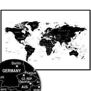 Weltkarte Wandbild Design Motiv Xxl Poster Schwarz Weiss Ebay