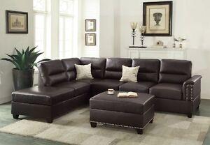Espresso Bonded Leather 3pc Sectional Sofa Set Sofa Reversible