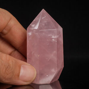 64g 57mm Natural Pink Rose Quartz Crystal Point/Tower Healing Obelisk Wand