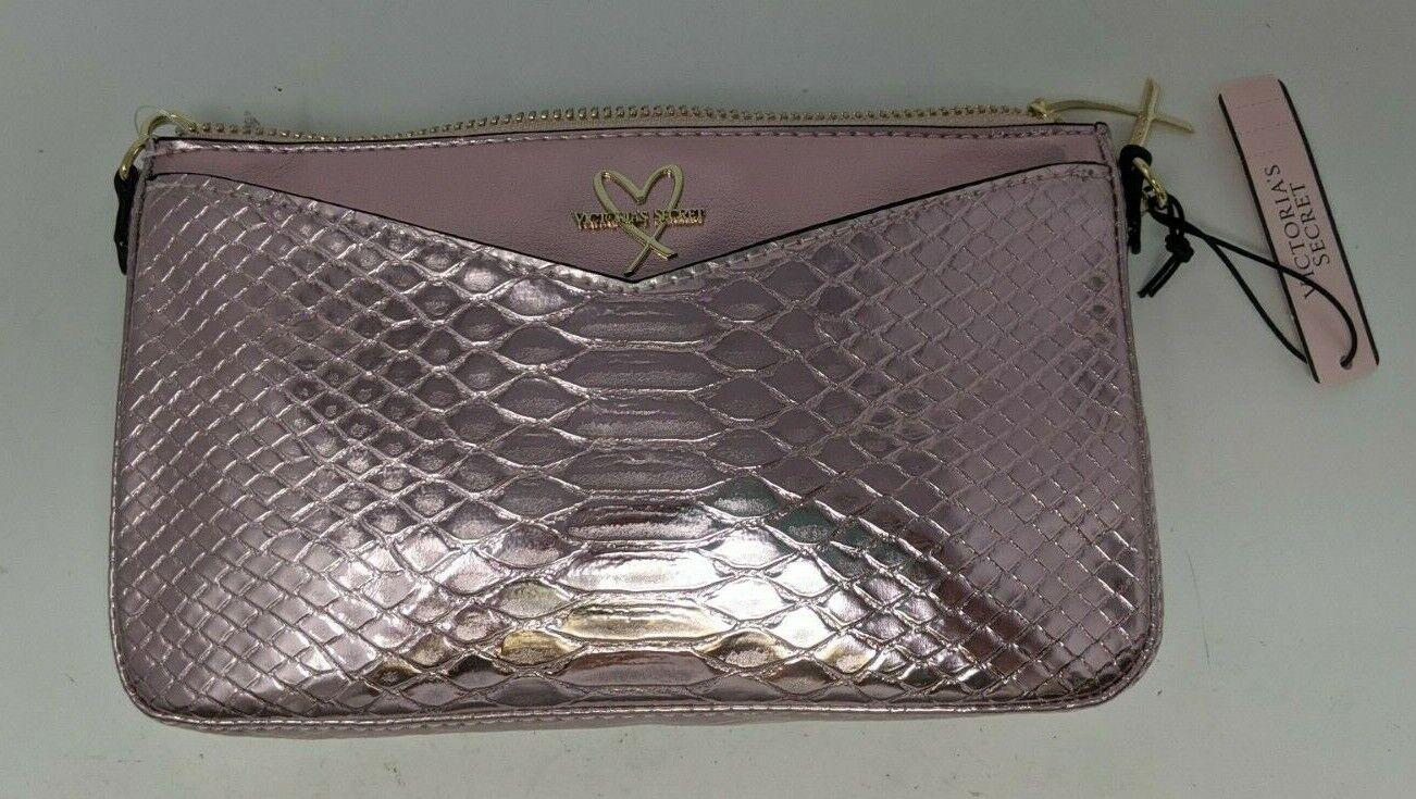 NWT Victoria Secret Chrome Pink Snakeskin Crossbody with Heart Charm
