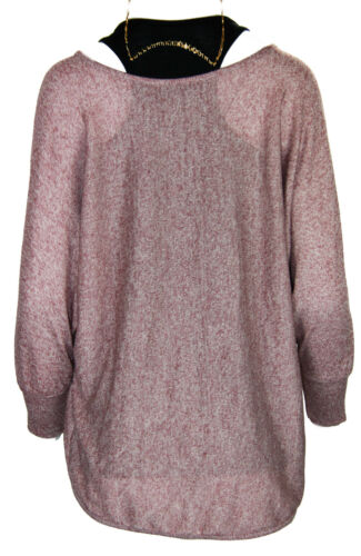 N48 New Womens 2 in 1 Knit Loose Batwing Jumper Top Sweater Vest Pearl Necklace
