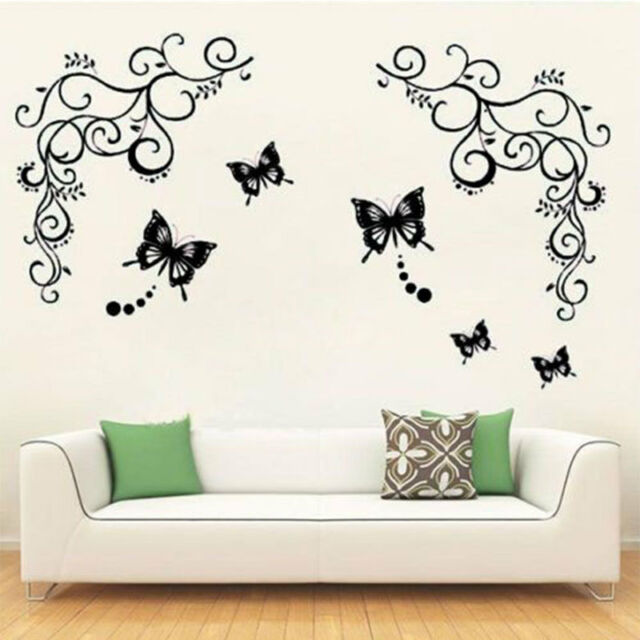 Butterfly Feifei New Black Wisteria Flower Vine Art Home Decor PVC Wall Sticker