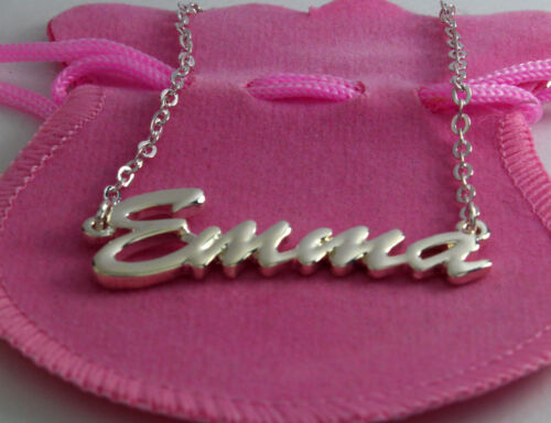 Personalised Christmas Custom EMMA 18ct White Gold Plating Necklace With Name