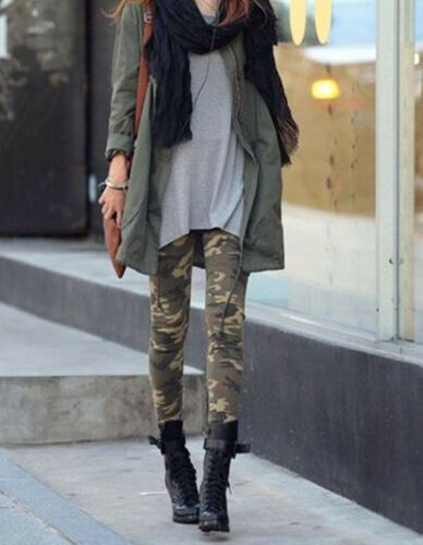 Women Girls Military Camouflage Khaki Green Camo Skinny Stetch Leggings Pants