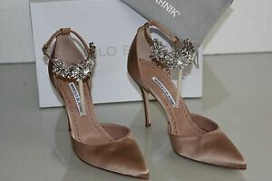 ed53d8ab57a565  1045 NEW Manolo Blahnik Sicariata 105 Satin Pumps Jeweled Shoes ...