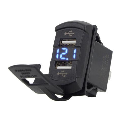 12V Dual USB Port Charger Voltmeter Blue LED Light For Car Motorcycle RV ATV UTV