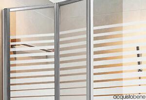 Parete vasca box doccia in cristallo serigrafato e alluminio cromato