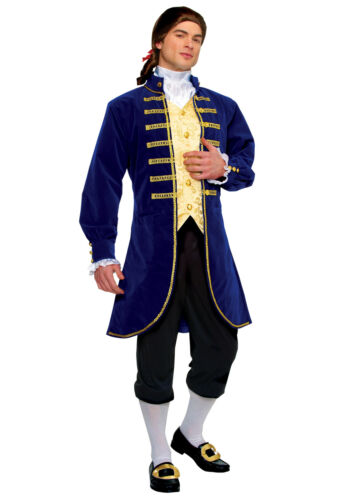 ADULT BLUE ARISTOCRAT GEORGE WASHINGTON COLONIAL MENS COSTUME JACKET KNICKERS