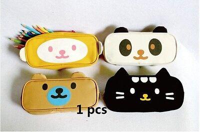 Cute Cartoon Animals Canvas Pen Pencil Case Bag in Bag Cosmetic Makeup Bag Pouch